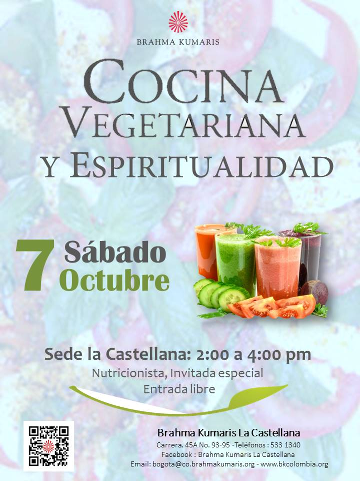 Clase de cocina vegetariana brahma kumaris colombia for Cocina vegetariana